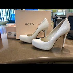 BCBG white rumba snake heels